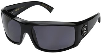 Von Zipper VonZipper Clutch Polarized (Black Gloss/Vintage Grey Wildlife Polarized Lens) Fashion Sunglasses