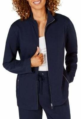 Karen Scott French Terry Zip-Front Jacket