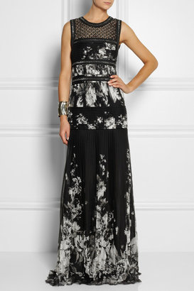 Roberto Cavalli Embellished leather-trimmed silk-chiffon gown