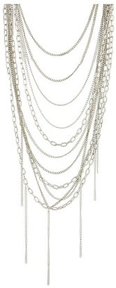Chan Luu 24 inch Necklace w/ Brown Cotton Cord Wrapped in Brass Chain and Draped w/ Mix Brass Chains (Rubber) - Jewelry