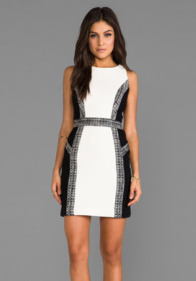 Milly Italian Wool Crepe Inset Tweed Sheath Dress