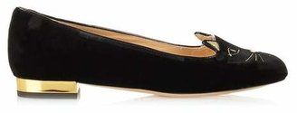 Charlotte Olympia Kitty Cat Face Embroidered Velvet Flats - Womens - Black