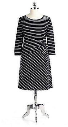 Tahari Plus-Size Krisi Striped Jersey Dress