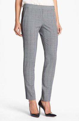 Vince Camuto Faux Leather Stripe Glen Plaid Trousers (Online Exclusive)