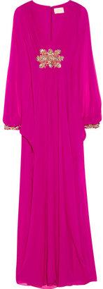 Marchesa Embellished silk-chiffon gown