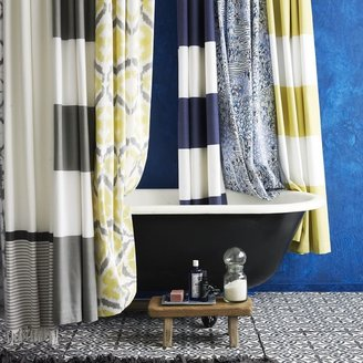 west elm Stripe Shower Curtain - Feather Gray