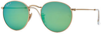 Ray-Ban Polarized Round Metal-Frame Sunglasses with Green Mirror Lens $200 thestylecure.com