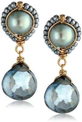 Dana Kellin Fresh Water Pearl Blue Quartz Post Earrings