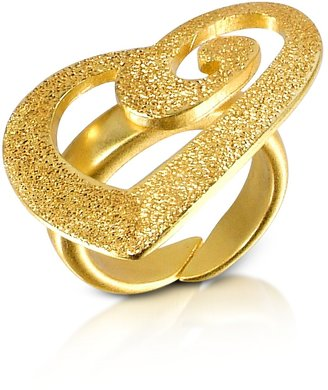 Stefano Patriarchi Golden Silver Etched Cut Out Heart Ring