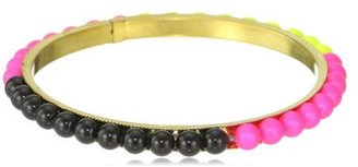 Chamak by Priya Kakkar Yellow, Pink and Black 6MM Swarovski Crystal Pearl Bangle Bracelet