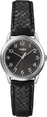 Timex Women's T2P0802M Black Python Patterned Leather Strap Watch $29.99 thestylecure.com