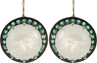 Andrea Fohrman Cabochon Rainbow Moonstone Earrings with Emeralds