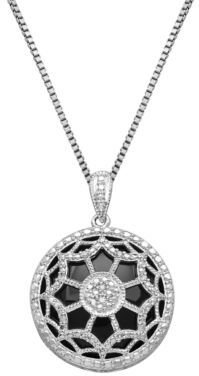 Lord & Taylor Sterling Silver, Onyx & Diamond Pendant Necklace