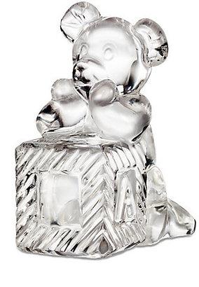 Waterford Crystal Teddy Bear & Baby Block