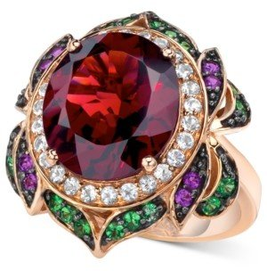 LeVian Crazy Collection Garnet (7-5/8 ct. t.w.) and Multi-Stone Round Flower Ring in 14k Rose Gold (Also Available in London Blue Topaz)