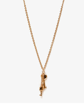 Forever 21 Heart Shaped Key Charm Necklace