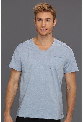 Calvin Klein Jeans Pieced S/S V-Neck w/ Pocket (Washed Slate) - Apparel