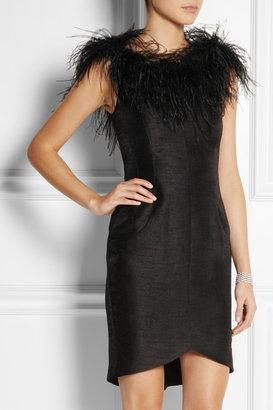 Kate Moss for Topshop Feather-trimmed slub dupion mini dress