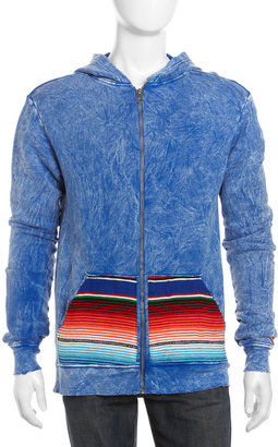 Cult of Individuality Serape-Pocket Hoodie, Royal Blue