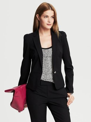 Banana Republic Black Lightweight Wool Puff-Sleeve Blazer