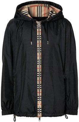 Burberry Icon Stripe Detail Nylon Canvas Hooded Jacket