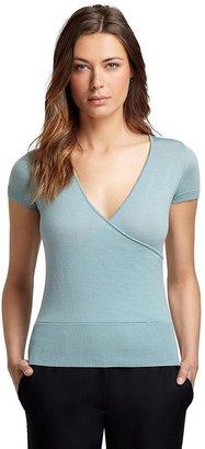 Brooks Brothers Short-Sleeve V-Neck Saxxon® Wool Sweater