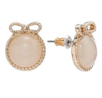 Lauren Conrad gold tone cabochon bow stud earrings