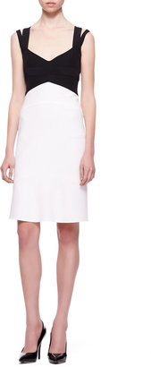 Narciso Rodriguez Double-Strap Colorblock Dress, Black/White