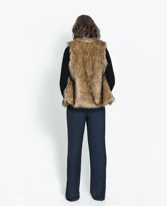 Zara Faux Sheepskin Gilet
