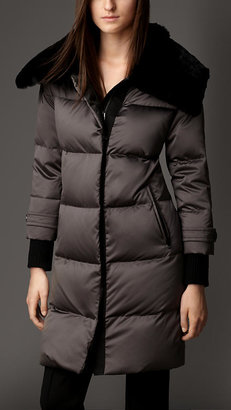 Burberry Fur Collar Down-Filled Puffer Coat