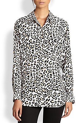 Equipment Signature Silk Leopard-Print Shirt