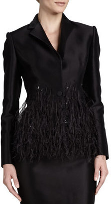 Carolina Herrera Twill Sequin-Collar Blazer $3,690 thestylecure.com