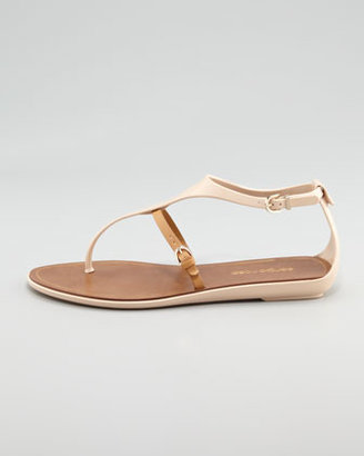 Sergio Rossi Rubber Thong Sandal, Nude