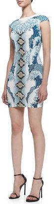 Just Cavalli Light Cyan Wild Waves Printed Minidress