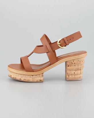Sergio Rossi Cork-Leather Low-Heel Sandal