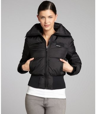 Members Only black quilted woven classic puffer jacket