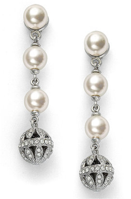 Eliot Danori Earrings, Silver-Tone Simulated 3 Pearl Drop Earrings