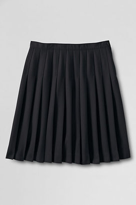 Lands' End Women's Solid Pleated Skirt (Below The Knee)