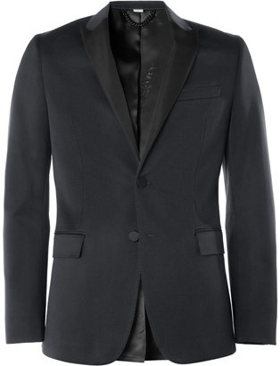 Burberry Navy Wool and Cotton-Blend Tuxedo Jacket