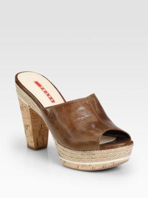 Prada Leather Cork Clogs