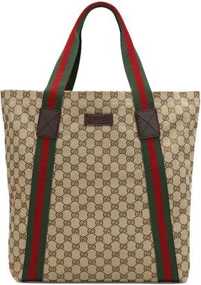 Gucci Canvas Tote, Beige/Ebony