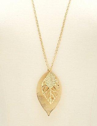 Charlotte Russe Triple Leaf Pendant Necklace