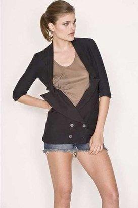 Monrow Double Breast Tux Jacket in True Black