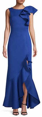 Eliza J Sleeveless Ruffle-Shoulder Asymmetric Hem Dress