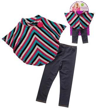 Dollie & Me Dollie and me striped poncho top and jeggings set - girls 7-12