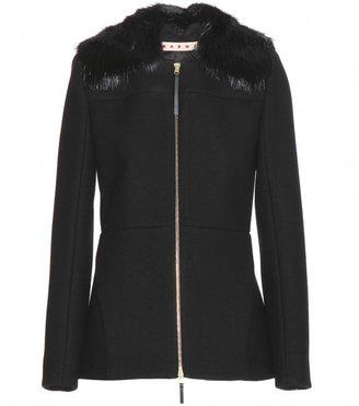 Marni Cotton-blend jacket with detachable fur collar