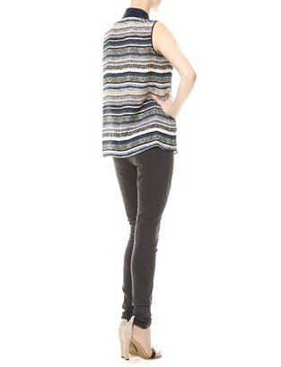 Yigal Azrouel Blue Stripe Silk Ikat Blouse