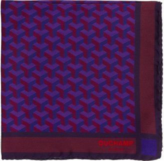 Duchamp Men's Geometric-Patterned Pocket Square-Pink