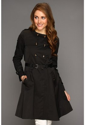Cole Haan City Nylon Doube Breasted Collarless Trench W/ Skirted Bottom (Black) - Apparel