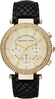 Michael Kors Golden Stainless Steel Parker Three-Hand Glitz Watch